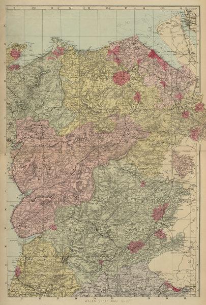 WALES (North East) Flint Denbigh Merionethshire Clywd GW BACON 1883 old map