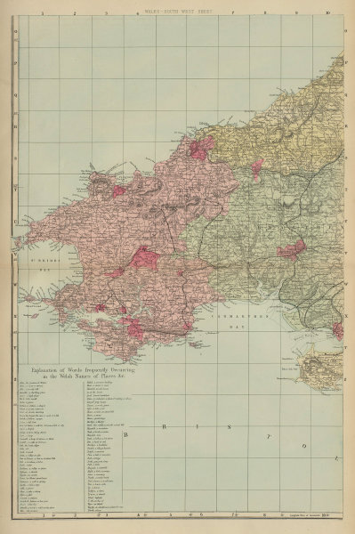 WALES (South West) Pembrokeshire Camarthenshire Dyfed GW BACON 1883 old map