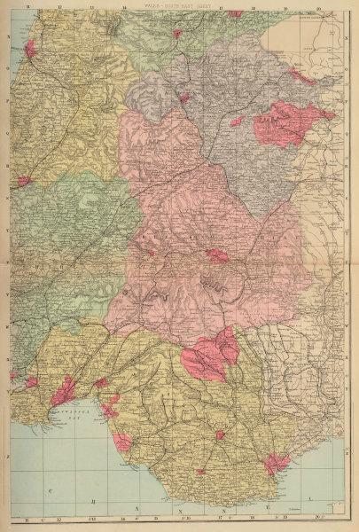 WALES (South East) Glamorgan Brecknock Radnorshire Powys GW BACON 1883 old map