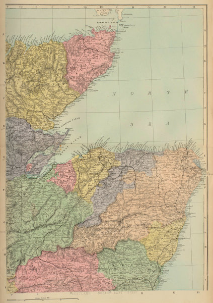 SCOTLAND (North East) Highlands Aberdeen Inverness Banff GW BACON 1883 old map