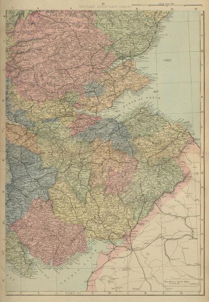 SCOTLAND (South East) Edinburgh Glasgow Perth Fife GW BACON 1883 old map