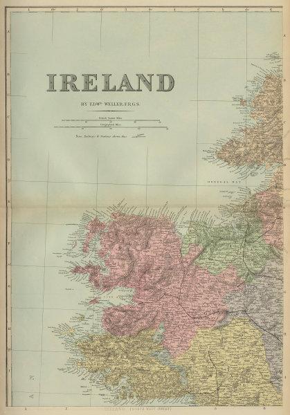 IRELAND (North West) Connacht Mayo Galway Sligo antique map by GW BACON 1883