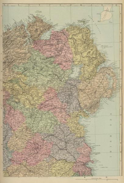IRELAND (North East) Ulster Meath Louth Cavan Dublin GW BACON 1883 old map