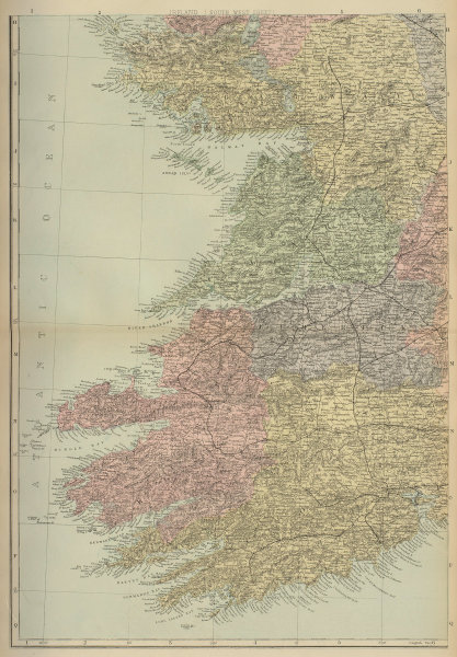 IRELAND (South West) Munster Cork Kerry Clare Limerick GW BACON 1883 old map