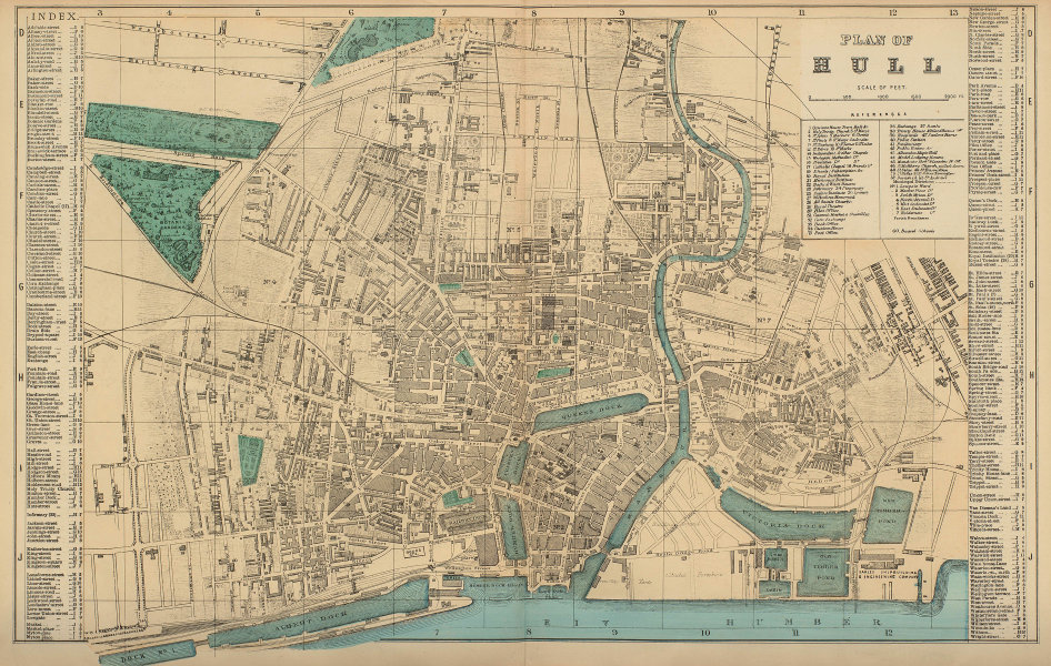 HULL Kingston Upon Hull antique town city plan by GW BACON Yorkshire 1883 map