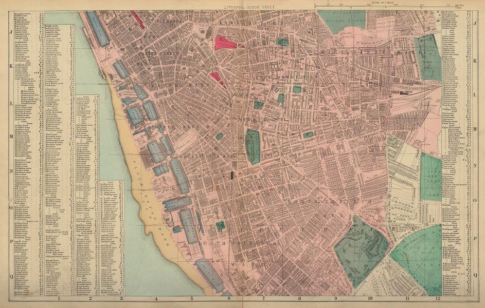 LIVERPOOL South Toxteth Edge Hill Kensington Princes city plan BACON 1883 map