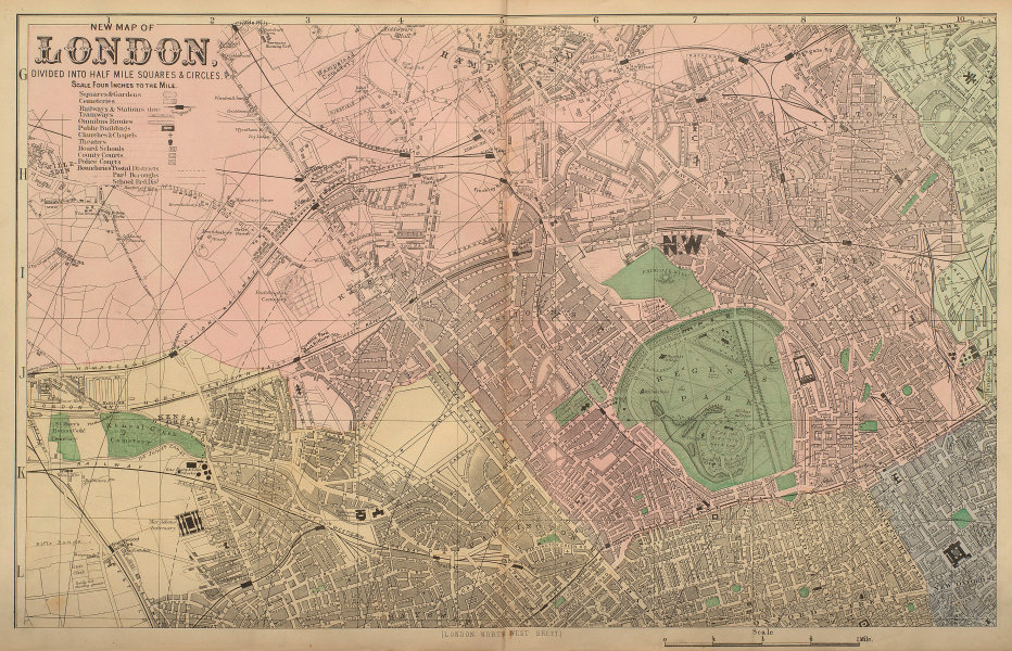 LONDON North West St John's Wood Marylebone Camden town city plan BACON 1883 map