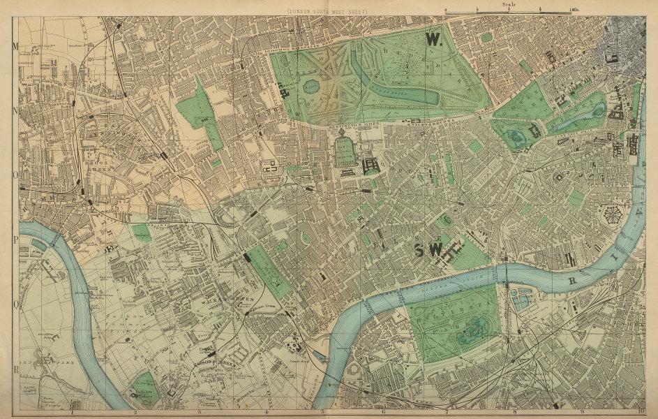 LONDON South West Kensington Chelsea Fulham Battersea city plan BACON 1883 map