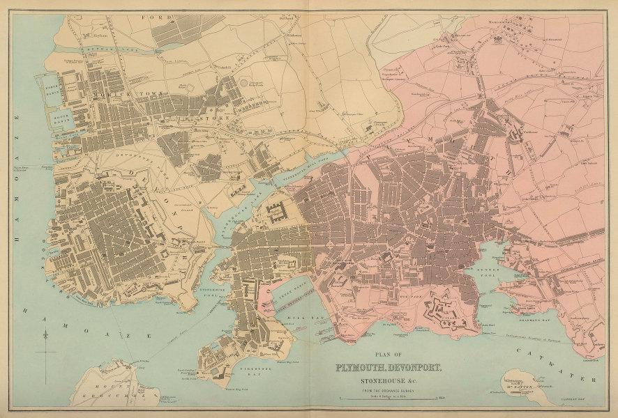 PLYMOUTH Devonport Stonehouse Stoke Mutley town city plan GW BACON 1883 map