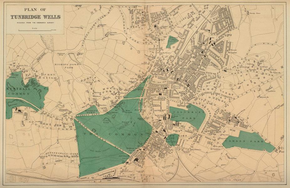 TUNBRIDGE WELLS Ferndale Ephraim Sion Camden town city plan GW BACON 1883 map