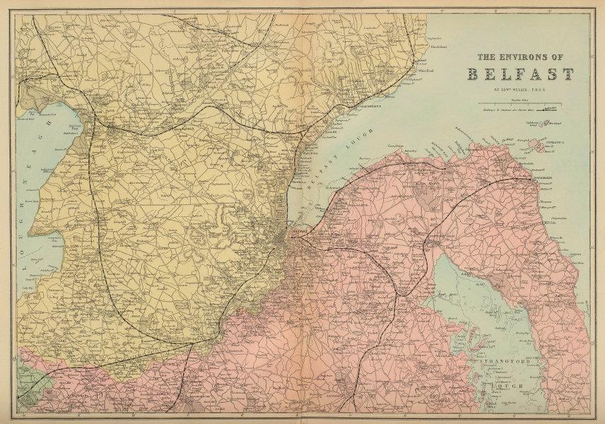 BELFAST & ENVIRONS Lisburn Antrim Bangor antique map by GW BACON 1883 old