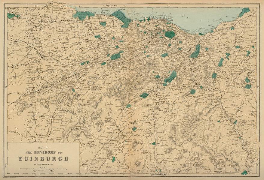 EDINBURGH & ENVIRONS West Lothian Midlothian antique map by GW BACON 1883