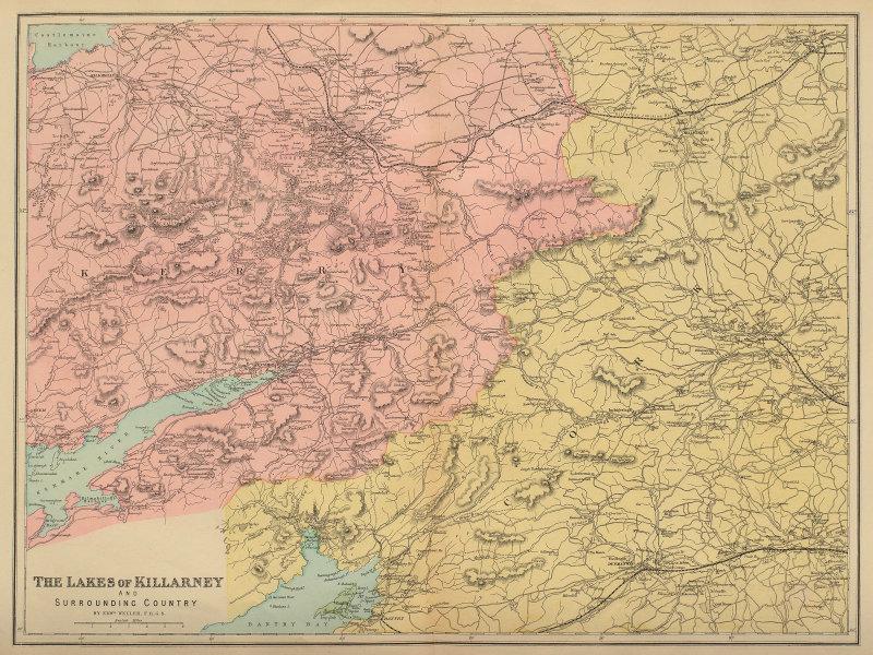 KILLARNEY LAKES Kerry Bantry Kenmare Ireland antique map by GW BACON 1883