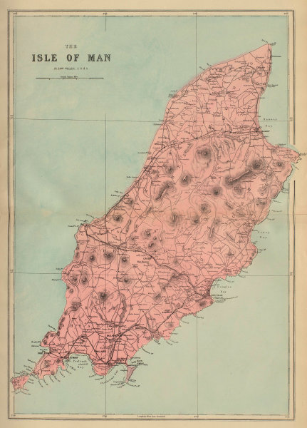 ISLE OF MAN antique map by GW BACON antique map by GW BACON 1883 old