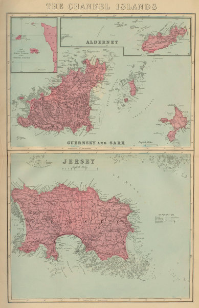 CHANNEL ISLANDS Alderney Guernsey Sark Jersey antique map by GW BACON 1883