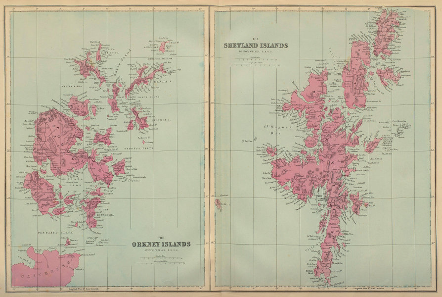 SCOTTISH ISLANDS Orkney & Shetland Islands antique map by GW BACON 1883