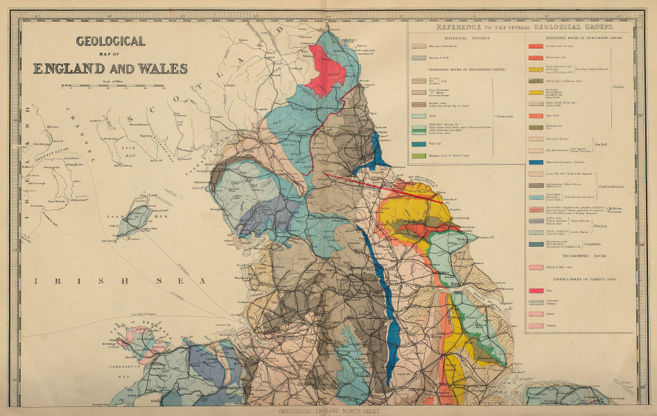 GEOLOGICAL ENGLAND & WALES (North sheet) antique map by GW BACON 1883 old