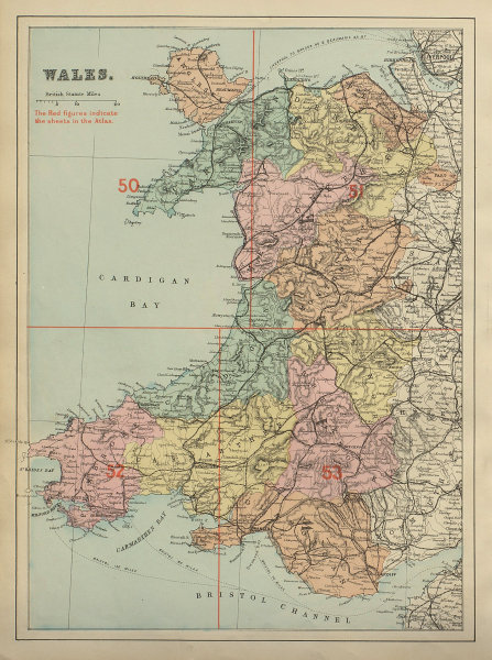 WALES antique index map by GW BACON 1885 old vintage plan chart