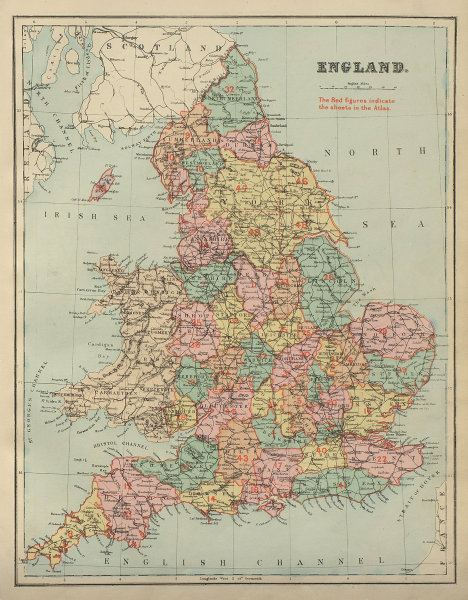ENGLAND antique index map by GW BACON 1885 old vintage plan chart