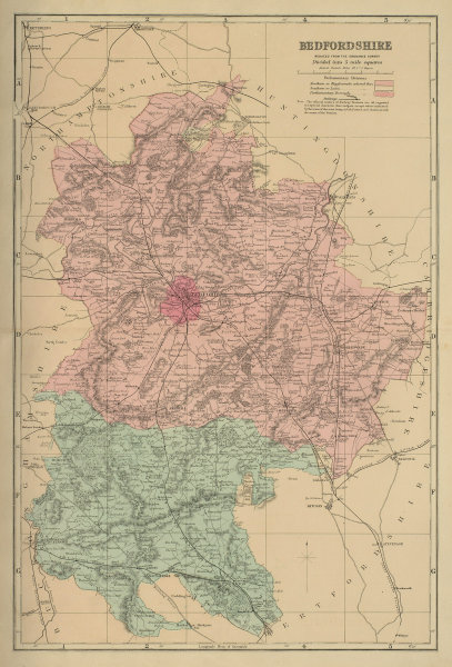 BEDFORDSHIRE antique county map by GW BACON 1885 old plan chart