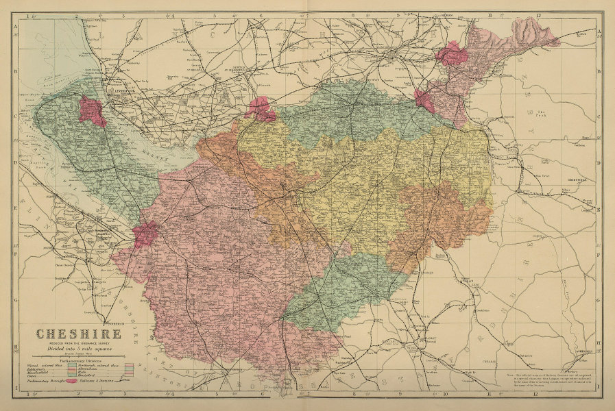 CHESHIRE antique county map by GW BACON 1885 old plan chart