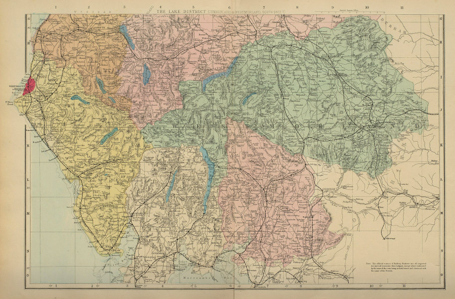LAKE DISTRICT Cumbria & Westmorland (South sheet) County map GW BACON 1885