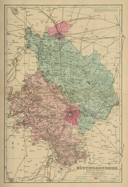 HUNTINGDONSHIRE antique county map by GW BACON 1885 old plan chart