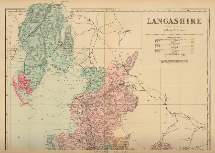 LANCASHIRE (North sheet) antique county map by GW BACON 1885 old