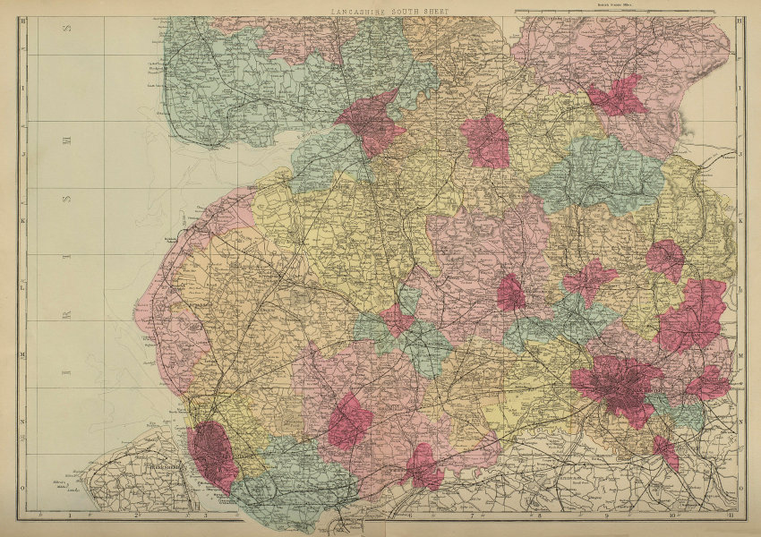 LANCASHIRE (South sheet) antique county map by GW BACON 1885 old