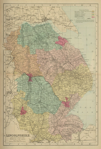 LINCOLNSHIRE antique county map by GW BACON 1885 old plan chart