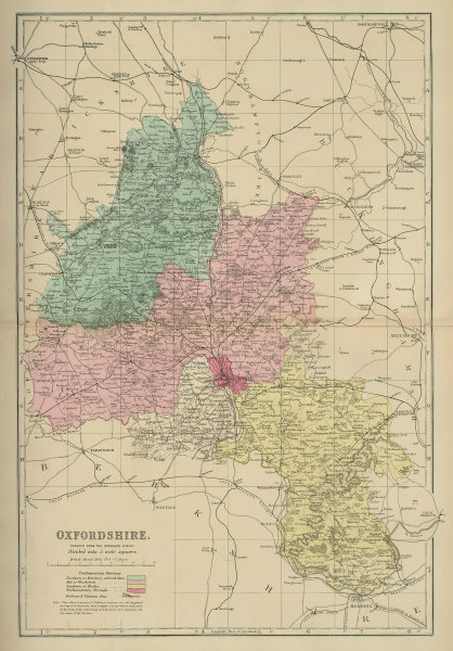 OXFORDSHIRE antique county map by GW BACON 1885 old plan chart