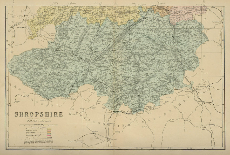 SHROPSHIRE (South) antique county map by GW BACON 1885 old chart