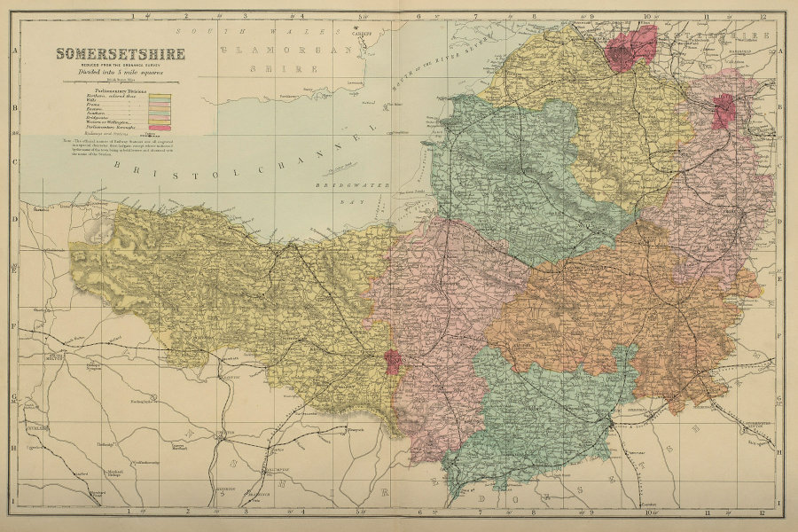 SOMERSETSHIRE Somerset antique county map by GW BACON 1885 old