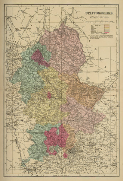 STAFFORDSHIRE antique county map by GW BACON 1885 old plan chart
