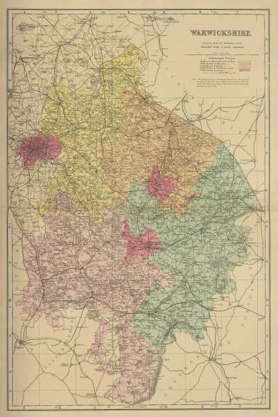 WARWICKSHIRE antique county map by GW BACON 1885 old plan chart