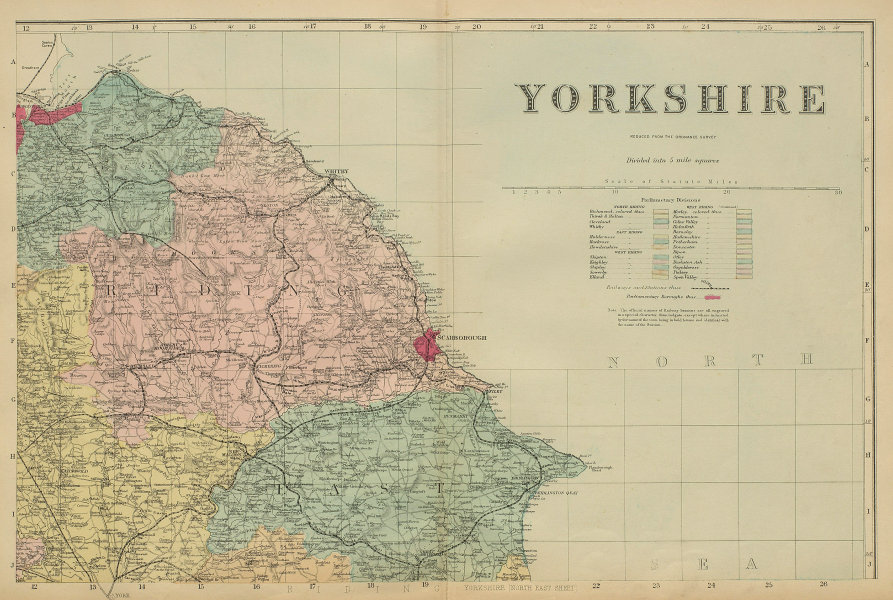 YORKSHIRE (North East) Scarborough Whitby antique county map by GW BACON 1885