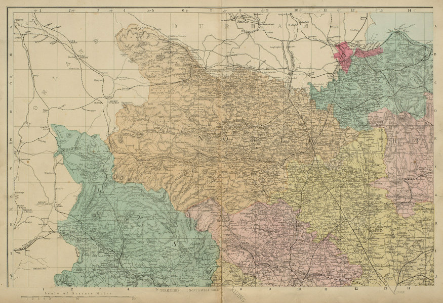 YORKSHIRE (North West) Middlesborough Northallerton County map GW BACON 1885