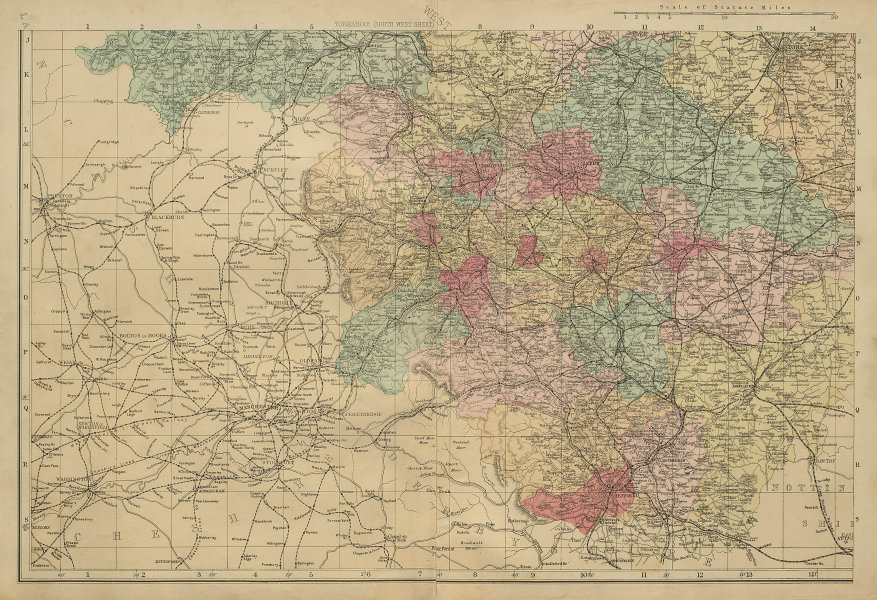 YORKSHIRE (South West) Sheffield Leeds Bradford County map GW BACON 1885