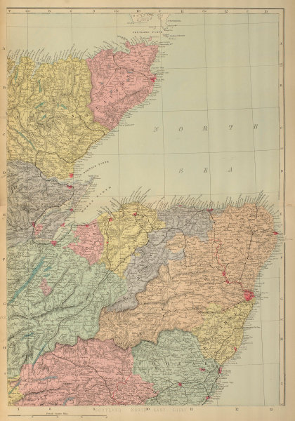 SCOTLAND (North East) Highlands Aberdeen Inverness Banff GW BACON 1885 old map