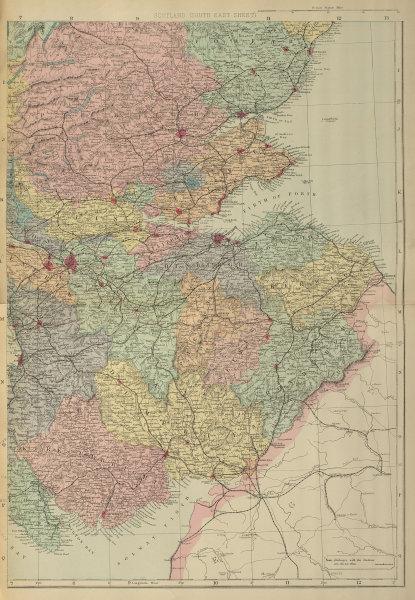SCOTLAND (South East) Edinburgh Glasgow Perth Fife GW BACON 1885 old map