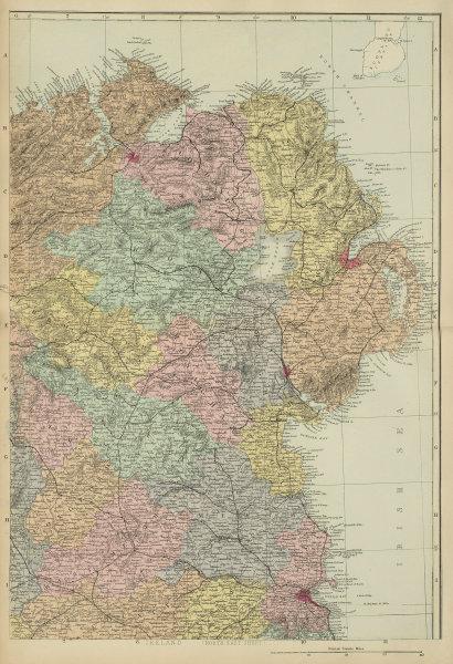 IRELAND (North East) Ulster Meath Louth Cavan Dublin GW BACON 1885 old map