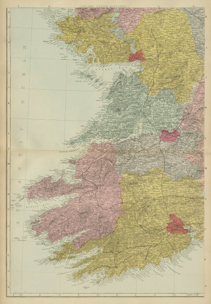 IRELAND (South West) Munster Cork Kerry Clare Limerick GW BACON 1885 old map
