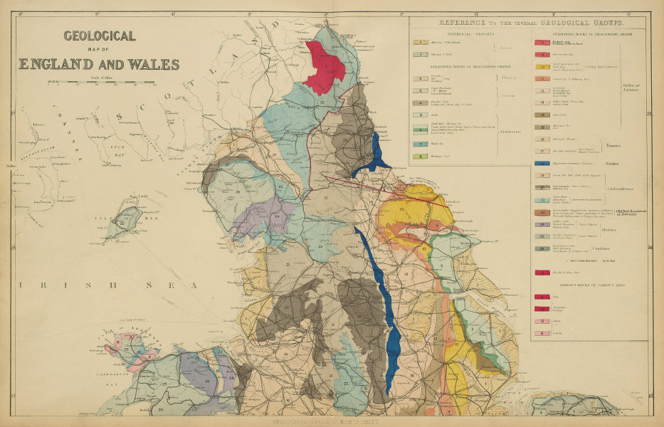 GEOLOGICAL ENGLAND & WALES (North sheet) antique map by GW BACON 1885 old