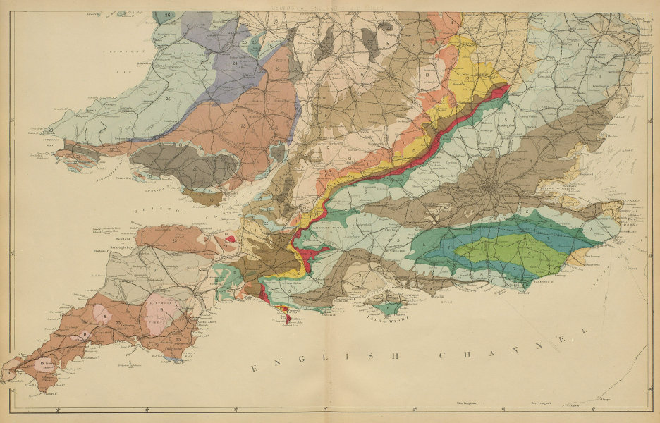 GEOLOGICAL ENGLAND & WALES (South sheet) antique map by GW BACON 1885 old