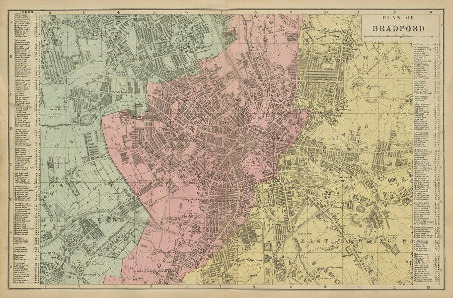 BRADFORD Manningham Undercliff Horton Bowling town city plan GW BACON 1885 map