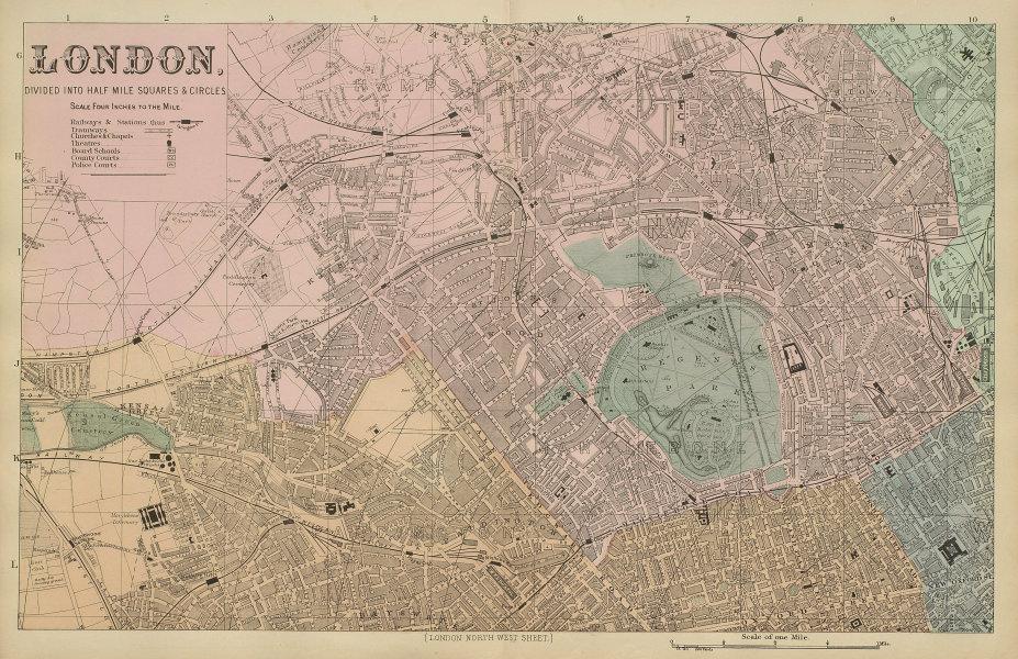 LONDON North West St John's Wood Marylebone Camden town city plan BACON 1885 map