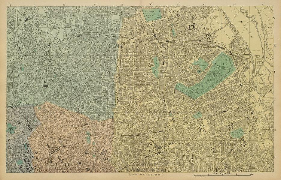 LONDON N East City Hackney Tower Hamlets Islington town city plan BACON 1885 map