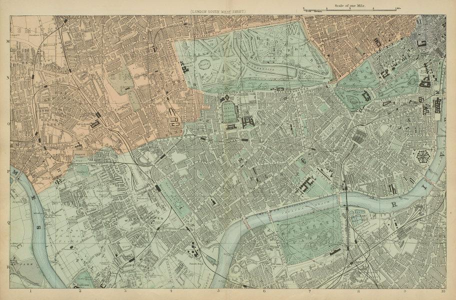 LONDON South West Kensington Chelsea Fulham Battersea city plan BACON 1885 map