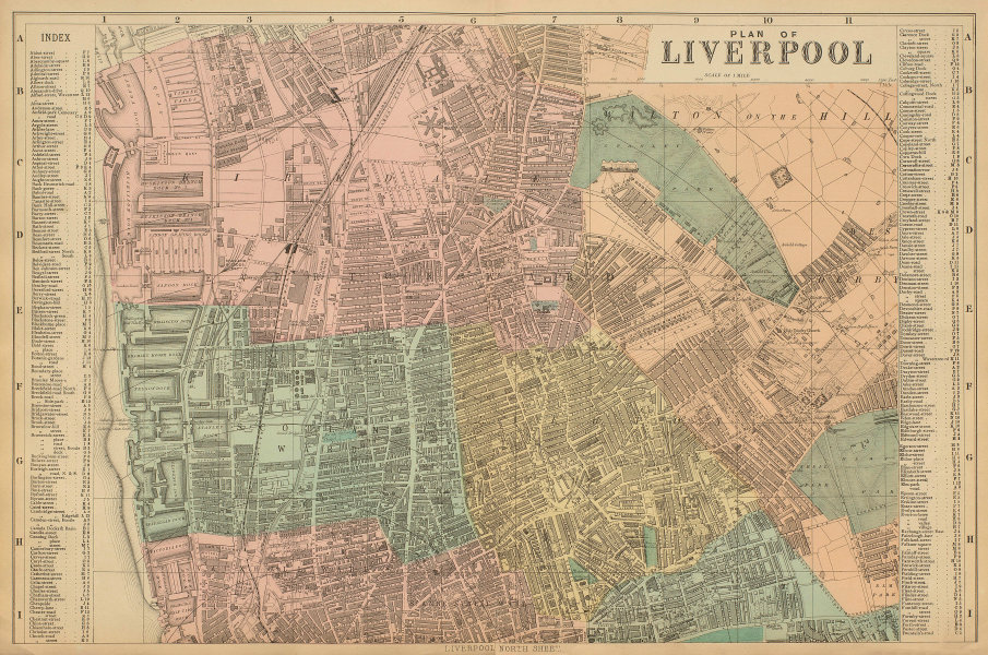 LIVERPOOL North Everton Anfield Kirkdale Vauxhall town city plan BACON 1885 map