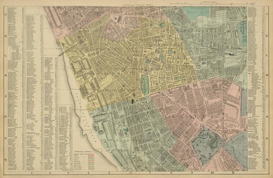 LIVERPOOL South Toxteth Edge Hill Kensington Princes city plan BACON 1885 map